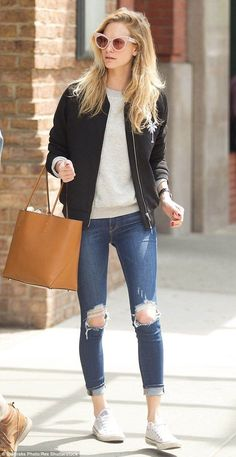 #casualoutfits #spring | Black Bomber Jacket + Ripped denim | Poppy Delevingne