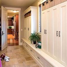 Mudroom Lockers with doors to hide the mess. Like the little bench to sit on. Maybe I need to ditch the hooks on the wall and make cabinets instead? Vs doing lockers outside?