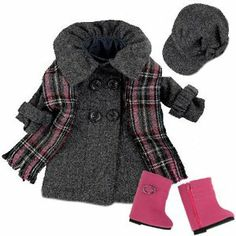 $23.95 Amazon.com: Doll Dress Coat fits American Girls Dolls, 4 Pc. 18 Inch Doll Coat/Clothing Set Includes Stylish Gray Coat, Doll Hat, Plaid Scarf & Hot Pink Doll Boots: Toys & Games
