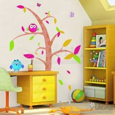 Artistic Tree Leaves and Owls Printed Decal Sticker
