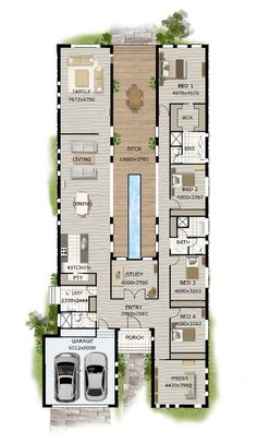 Best Product Description of Narrow Block House Designs : Modern Narrow Block House Designs Floor Plan Four Bedrooms (not a tiny house, but really interesting floor plan with potential for small house living.)