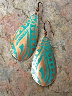 Copper Earrings / Blue Green Copper Earrings / by Lammergeier, $30.00