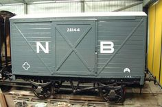 NBR 10 ton Covered Van No. 28144 - This is a typical van of its period. The underframe is wooden, and there is no automatic brake, only a handbrake on either side, with brake blocks on both axles. The axleboxes are oil lubricated.