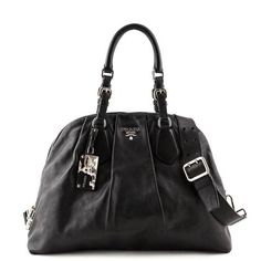 874abccb76f6 Prada Black Soft Calfskin Dome Tote - LOVE that BAG - Preowned Authentic  Designer Handbags