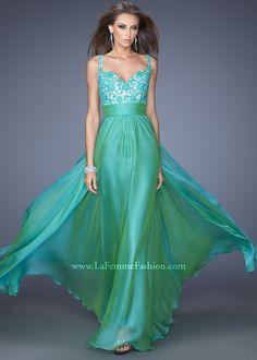 La Femme 19882 - Green V-Neck Jeweled Chiffon Prom Dresses Online #thepromdresses