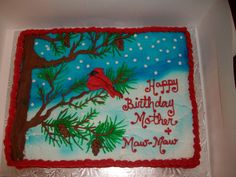 Red Cardinal Winter Scene vanilla cake with homemade buttercream icing Christmas Cake Designs, Christmas Cake Decorations, Christmas Cakes, Christmas Sweets, Cookie Cakes, Cupcake Cakes, Cake Decorating Techniques, Decorating Ideas, Homemade Buttercream Icing