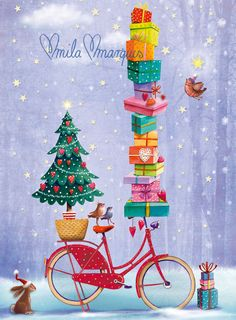 4 small Christmas cards by Mila Marquis
