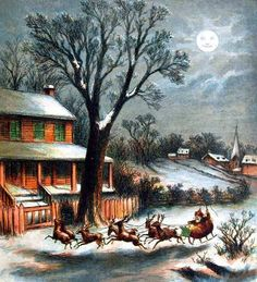 Moonlight - Vintage Christmas - Visit from St Nick, Thomas Nast 1869