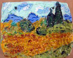 Van Gogh in clay Clay Wall Art, Clay Art, Clay Clay, Van Gogh For Kids, High School Art, Clay Projects, Clay Crafts, Art Lesson Plans, Art Club
