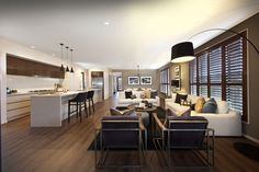 Clarendon Homes. Armadale Open Plan living with kitchen, dining and family room. Kitchen Family Rooms, Room Kitchen, Kitchen Dining, Clarendon Homes, Living Room Designs, Living Spaces, Gray And White Kitchen, Display Homes, Dream House Plans