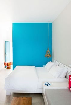 Turquoise wall painting
