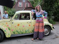 """Jane Fonda and flower painted vw beetle from movie """"peace, love and… Hippie Chic, Hippie Life, Hippie Style, Hippie Bohemian, Boho Chic, Jane Fonda, Peace Love And Misunderstanding, My Dream Car, Dream Cars"""