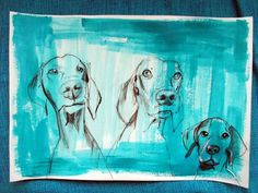 """VIZSLA LOVE Family"" by Daniela Ela  Kočička  Beuk. Charcoal drawing on Paper, Subject: Animals and birds, Illustrative style, One of a kind artwork, Signed on the back, This artwork is sold unframed, Size: 37.5 x 26.5 cm (unframed), 14.76 x 10.43 in (unframed), Materials: charcoal pen ,acrylic"