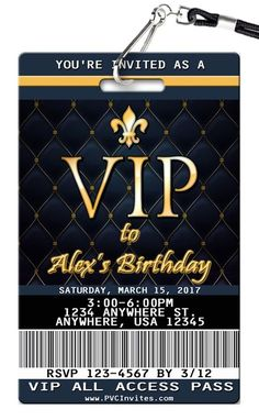 Rose Gold VIP Pass Birthday Invitations printed on Plastic VIP Badges! 21st Birthday Invitations, 18th Birthday Party, Sweet 16 Invitations, Sweet 16 Birthday, Party Invitations, Birthday Banners, Farm Birthday, Birthday Ideas, Hollywood Party