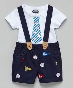 Another great find on #zulily! Navy Baseball Suspender Shorts & White Tie Tee - Infant #zulilyfinds