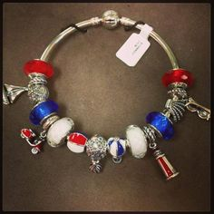 New Pandora bangle with Red White and Blue charms as well as the new Summer Pandora charms!