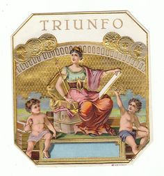 1 cigar label Triunfo woman on throne holding spear with angels