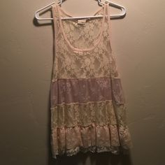 Lace multi color tank Sheer lace multi color tank Daytrip Tops Tank Tops