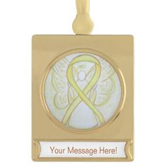 Yellow Awareness Ribbon Angel Art Custom Ornament for Bladder Cancer or Sarcoma/ Bone Cancer
