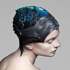 Fashion studio The Unseen has created a gemstone-encrusted headdress that changes colour in response to varying energy levels in the brain. .  Vicenza headdress by The Unseen for Swarovski