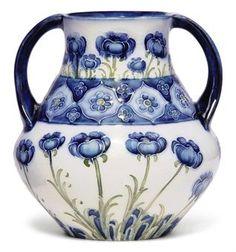 A Moorcroft Macintyre Florian Blue Poppy Vase