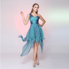 2017 One Shoulder Chiffon Cocktail Dresses Sexy Ruched A-Line Prom Dresses Irregular Backless Party Dresses Custom Made