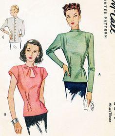 1940s Stunning Film Noir OverBlouse Pattern McCall 6245 Figure Flattering Design Daytime or Evening Key Hole Neckline Blouse Bust 34 Vintage Sewing Pattern