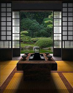 Mesa de té con #jardín #japones de telón de fondo