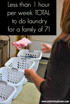 Great laundry tips for a large family.  Oldest kids clothing gets one sharpie dot on the label.  As it gets passed down, add one dot.  Each kid places his/her socks in a mesh bag so no more sorting socks!