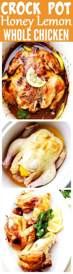 Crock Pot Honey Lemon Chicken Recipe - Rubbed with lemon-pepper butter and a sweet honey sauce, this is the easiest, most delicious whole chicken prepared in the crock pot!