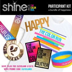 The Color Run's SHINE Tour is coming to Cleveland - save $5.00 with promo code CLEVELAND5! All participants receive with their registration: a free The Color Run Shine t-shirt, a gold foil tattoo, a woven shimmer headband, SHINE and color packs to throw at the event, and a 2015 finisher medal! #cleveland #thecolorrun #colorrun #funrun #5K #finishermedal #running