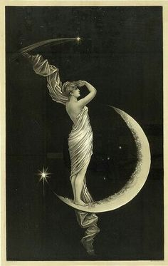 ☆ woman on the moon #vintage pic #monotones