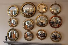 Great Set of 12 Porthole Convex Mirrors - Decorative Collective