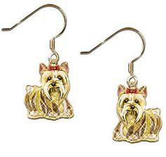 $99.00  yorkie, yorkshire terrier earrings with swarovsky crystals. Bling! #dogs #jewelry #yorkies #yorkie