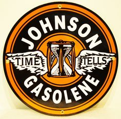 """Approximately 12"""" Johnson Gasolene reproduction sign for your #vintage collection! Shop now at www.gaspumpheaven.com"""