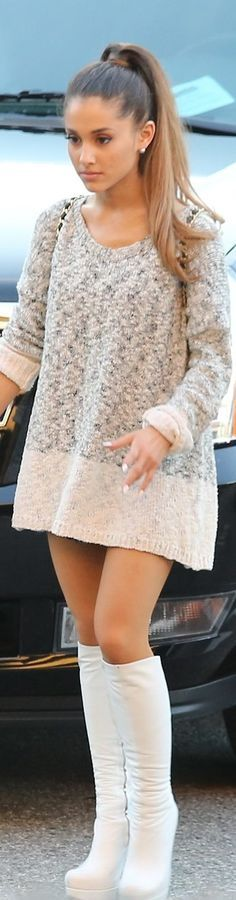 Can't get enough of ariana grande style I love how she has been recently wearing overdose sweatshirts and knee high shiny white boots