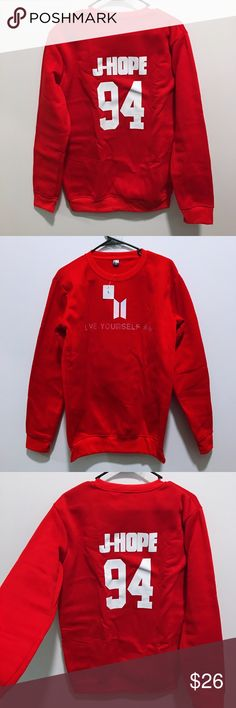 Nwt Kpop BTS Love Yourself Jhope 94 Red Pullover New & Ready To Ship Perfect for V-Day <3  Warm and cozy for chilly days  Women's Large (12-14)  Measurements of actually item itself Chest: ~55cm Length: ~73cm  #btsjhope #jhopebts #jhope #hoseok #bias #kpop #bts #kpopbts #kpopshirt #kpoptshirt #btsshirt #nwt #hoodie #pullover #kpophoodie #sweatshirt #unisex #loveyourself #hiphop #trending #harajuku #cute #valentinesday #love #kpopclothing #btsclothing #fashion Tops Sweatshirts & Hoodies