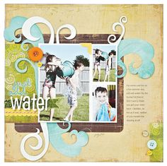 Just Add Water--splash accent ideas for scrapbooking. Includes a link to a free template for the wave accent piece.