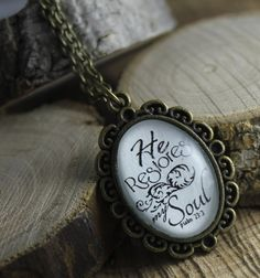 Psalm 23   He restores my soul Loop Vintage Style Christian Pendant necklace by the Hymn Drop Shoppe