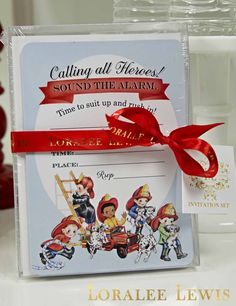 """Fireman Fill-in-the-Blank Invitation Set This set of 8 fill-in-the-blank invitations measure 5""""x7"""" and include Fireman-themed lined envelopes. Printed on heavy 130lb. cardstock. $19.95"""