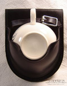 Black Leather Teacup Holster with Vintage Teacup on Etsy, $73.91 AUD