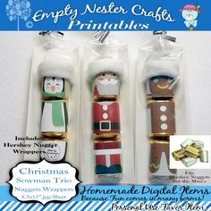 Hershey Nuggets Candy Bar Wrapper, Christmas - Snowman trio, for the Nuggets not mini's, party favor,printable, download by EmptyNesterCrafts on Etsy