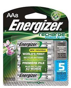 Energizer Recharge Power Plus AA 2300 mAh Rechargeable Batteries Pre-Charged 8 count