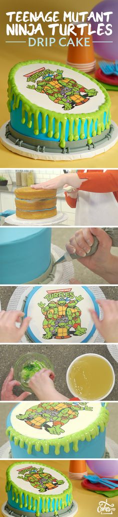 Impress with this Teenage Mutant Ninja Turtles drip cake.