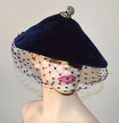 868cb105f4d VINTAGE 1930-40s BLUE VELVET HAT MESH VEIL RHINESTONE ADORNMENT JUSTINE  DESIGN