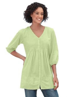 Woman Within Plus Size Trapeze Pintucked Tunic - List price: $34.99 Price: $21.99