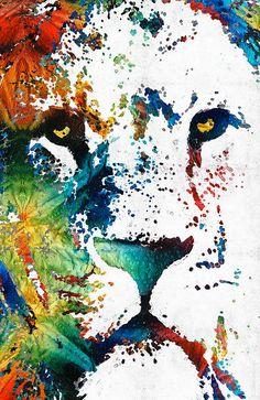 León arte colorido Animal PRINT de pintura por BuyArtSharonCummings