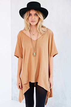 Truly Madly Deeply Double-V Raw-Edge Tunic Top - Urban Outfitters