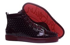 Christian Louboutin Wine Red Leather Spike High Sneakers