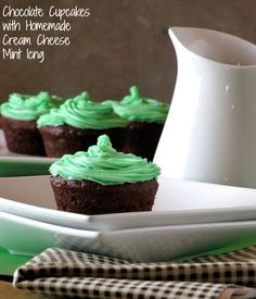 Chocolate Cupcakes with Homemade Cream Cheese Mint Icing | Miss in the Ktichen